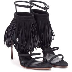 Miu Miu Fringes Suede Sandals (£288) ❤ liked on Polyvore featuring shoes, sandals, nero, black strap shoes, strappy sandals, suede shoes, leather sole shoes and suede sandals