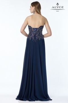 Chiffon gown with an embroidered bodice, large front slit and a lace up back. Couture Collection, Dress Collection, Strapless Dress Formal, Prom Dresses, Formal Dresses, Chiffon Gown, Gowns, Lace, Bodice