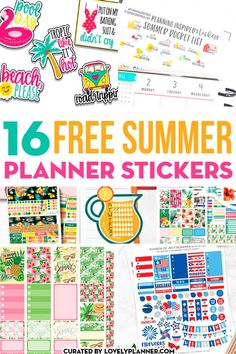 16 Free Printable Summer Planner Stickers you can find online: weekly kit, monthly kit, summer bucket list, etc. Free Planner, Happy Planner, Planner Ideas, Planner Diy, Lesson Planner, Planner Supplies, Monthly Planner, Printable Planner Stickers, Free Printables