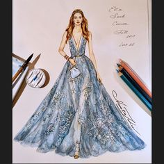 Elie Saab Couture gown Fall 2017 ⚜️❄️⚜️ ( ,pencils on Arches watercolour paper) Fashion Illustration Dresses, Dress Illustration, Vogue Fashion, Fashion Art, Fashion Models, Fall Fashion, Fashion Design Drawings, Fashion Sketches, Elie Saab Couture
