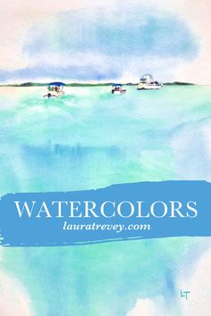 Shop original watercolor paintings of a favorite vacation destination inspired by the clear blue green waters of the Exumas. Release date June 12th on lauratrevey.com - Coastal Wall Art