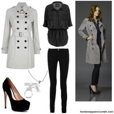 "This outfit is inspired by the style of Kate Beckett (Stana Katic) from the tv show ""Castle"""