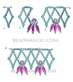 Free pattern for beautiful beaded necklace Esmeralda     U need: pearl beads 3 mm pearl beads 5 mm pearl rice beads seed beads 11/0      Click to get book about Beading