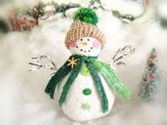 Your place to buy and sell all things handmade Snowman Ornaments, Christmas Snowman, Christmas Holidays, Green Christmas, Christmas Ornaments, Pink Cheeks, Arm Knitting, Holiday Tree, Soft Sculpture