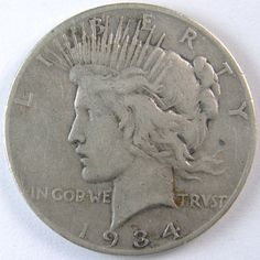 1934S PEACE Silver Dollar by IndianHeadCent on Etsy, $39.00 #silverdollar #peace