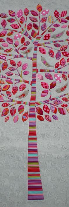 "Lilly Pilly tree applique quilt by Kellie Wulfsohn | Dont Look Now This could become a ""family tree"" quilt or wall hanging."