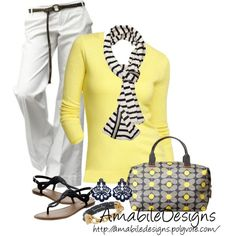 """Navy and Yellow Casual Fun Day"" by amabiledesigns on Polyvore"