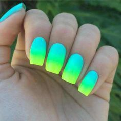 Neon green nails, blue ombre nails, ombre nail art, nails summer co Summer Nails Neon, Neon Green Nails, Blue Ombre Nails, Neon Nail Art, Neon Nail Polish, Purple Nail, Neon Nails, Nail Polishes, Matte Nails