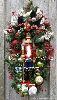 Grand Holiday Nutcracker Swag ~A New England Wreath Company Designer Original~ Christmas Swags, Nutcracker Christmas, Holiday Wreaths, Kids Christmas, Christmas Crafts, Christmas Decorations, Holiday Decor, Xmas, Christmas Door