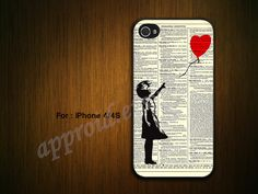 Balloon girl on Dictionary  -Custom iPhone 4 Case iPhone 4S Case iPhone 5 Cover-Unique Case for iPhone 4 /4S/5 Case