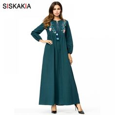 Siskakia Floral Embroidery Maxi long dress Spring Autumn 2018 high waist  draped design swing dress Vintage tassel drawstring 4XL Price  31.06   FREE  ... caa2f9773d01