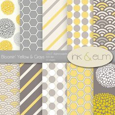 Digital Paper Yellow and Gray  Yellow and Gray by InkAndElm, $4.95