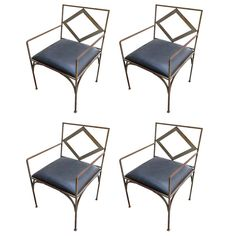 1970 Set of Four Iron Outdoor Chairs | From a unique collection of antique and modern garden furniture at https://www.1stdibs.com/furniture/building-garden/garden-furniture/