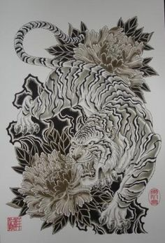 Tiger tattoo Image awesome design, nice chrysanthemums too