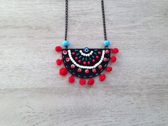 Bohemian Necklace Boho Necklace Pom Pom Necklace Embroidered Necklace Felt Necklace Girlfriend Gift Women Accessory Gift for Her Textile Jewelry, Embroidery Jewelry, Fabric Jewelry, Beaded Embroidery, Bohemian Necklace, Boho Jewelry, Jewelry Gifts, Women Jewelry, Handmade Beads