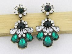Emerald Statement Earrings Retro Crystal Earrings by eBijoux, $10.99