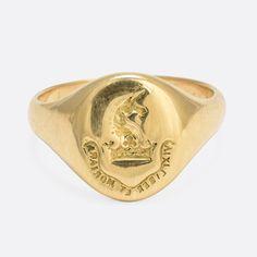 Edwardian Heraldic Unicorn & Crown Signet Ring