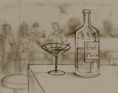 """A bottle of """"good martini"""", an imagined complex brand of martini, I came up with that name after a difficult process, and some good times. My Drawings, Martini, Good Times, Canvas Art, Sketch, Pencil, Bottle, Sketch Drawing, Flask"""
