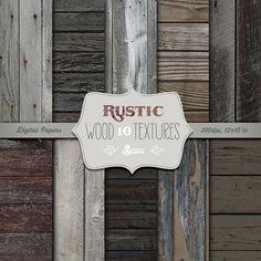 Rustic Wood Textures: 10 Digital Papers. Textured, rustic, distressed wood, dark wood, planking, scrapbook backgrounds.
