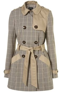 Stone Contrast Check Belted Trench Coat - Jackets & Coats - Clothing - Topshop USA - StyleSays