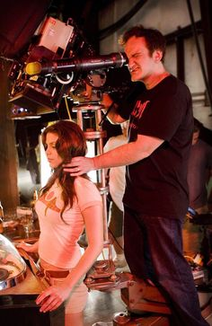 Quentin Tarantino & Vanessa Ferlito on the set of Death Proof