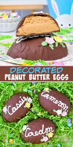 Decorated Peanut Butter Eggs Decorated Peanut Butter Eggs – these fun homemade peanut butter eggs are covered in dark chocolate and decorated with candy flowers and a name. Make these fun no bake treats for your Easter baskets or parties! Peanut Butter Filling, Homemade Peanut Butter, Recipe For Peanut Butter Easter Eggs, Easter Chocolate, Homemade Chocolate, Chocolate Recipes, No Bake Treats, No Bake Desserts, Recipe Treats