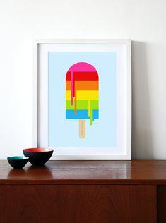 Retro poster rainbow print nursery kids bedroom kitchen by yumalum, $29.00