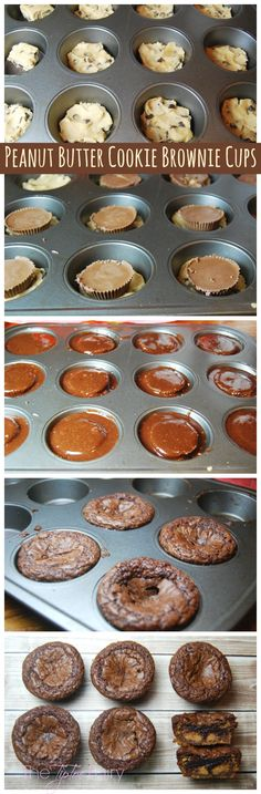 What can you do with peanut butter cups, cookie dough, and brownie batter? A delicious but easy dessert - Peanut Butter Cookie Brownie Cups! Brownie Recipes, Cookie Recipes, Dessert Recipes, Salad Recipes, Easy Desserts, Delicious Desserts, Yummy Food, Oreo Desserts, Yummy Treats