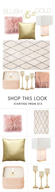 """Blush & Gold"" by thelifeoftheparty ❤ liked on Polyvore featuring interior, interiors, interior design, home, home decor, interior decorating, Pillow Decor, Gabby, Henri Bendel and Godinger"