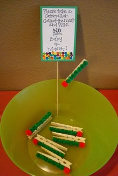 Very Hungry Caterpillar pegs - maybe the kids could get a peg for each game they win and exchange for goodies