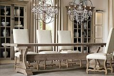 Restoration Hardware 17th C. Hourglass Trestle Dining Table