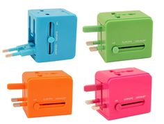 Universal travel plug adapter for 150 countries - great colors and so compact!