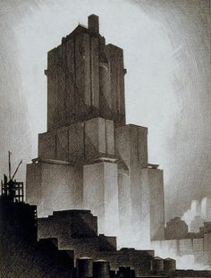 Hugh Ferriss (American, 1889-1962), drawing from the Avery Collection