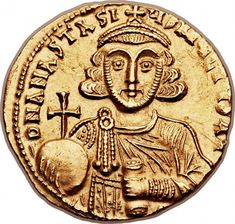 Byzantine gold coin of Anastasius II Artemius (AD AV solidus Pirate Coins, Byzantine Gold, Gold And Silver Coins, Antique Coins, Half Dollar, Ancient Artifacts, Coin Collecting, Archaeology, Sassanid