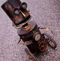 robot assemblage sculpture * POPS - The High Mileage/Low Maintenance Geriatric Steampunk Robot