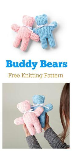 Buddy Bears Free Knitting Pattern – Knitting For Beginners Baby Knitting Patterns, Teddy Bear Patterns Free, Teddy Bear Knitting Pattern, Knitted Doll Patterns, Knitting Kits, Free Knitting, Knitting Bear, Knitting For Charity, Knitting For Kids