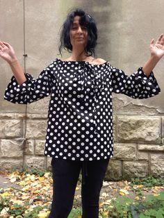 Polka dot womens tunic/ Off shoulder by StudioMariya on Etsy