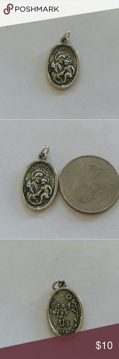 Sterling silver St Joseph charm Sterling silver St Joseph Pray for Us charm. Italy. New. Jewelry Necklaces