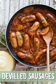 This Devilled Sausages Recipe is the ultimate comfort food. Cooked in one pan with a rich and spicy tomato sauce, quick dinners have never tasted so good! Devilled Sausages Recipes, Pork Sausages, Easy Sausage Recipes, Pork Recipes, Cooking Recipes, English Food Recipes, Gourmet, Sausages, Entrees