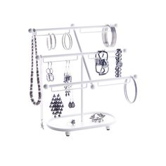 Large Earring Holder Jewelry Organizer & Bracelet Display Stand - Isabel Jewelry Tree by Angelynn's Jewelry Organizers in White