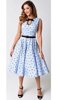 Hell Bunny 1950s Style Blue & Black Cherry Martina Swing Dress