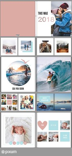 Your most beautiful memories from 2018 summarized in your personal Pixum photo book: With our cool t Album Design, Ideas Scrapbook, Family Yearbook, Baby Photo Books, Baby Album, Album Book, Photoshop, Wedding Album, Graphic