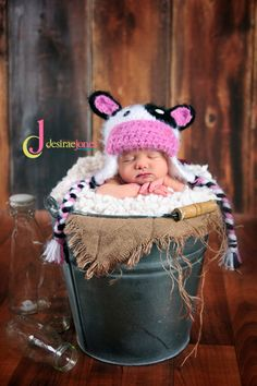 Custom Order Crochet Baby Cow Hat photo prop sz nb $20 Newborn and Baby Photography props #Snipits #Snipitsink #DesiraeJonesPhotography