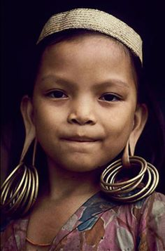 Indonesia | Dayak girl.  Borneo Rainforest | ©Victor Englebert