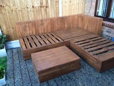 The coffee table has been given the same treatment for compatibility. - #DIY #Pallet Corner Sofa for Deck | Pallet Furniture