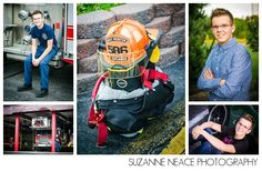 firefighter senior portrait inspiration Put the sports gear together like this