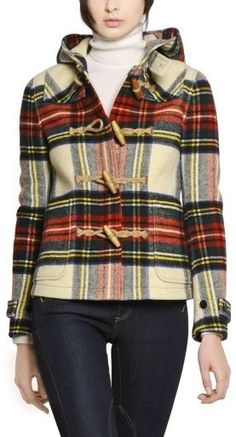 Vintage POLO Ralph Lauren Tartan Navy PLAID Wool Toggle Duffle ...