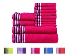 Trident Candy Stripes Light and Vibrant Combed Cotton 12-Pieces (Bath, Hand