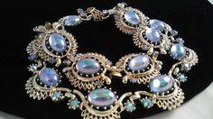 Vintage CORO Cabochon & Rhinestone Necklace Bracelet Signed