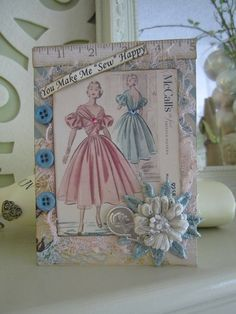 Sewing-themed Card Card for Seamstress Card for by AvantCarde